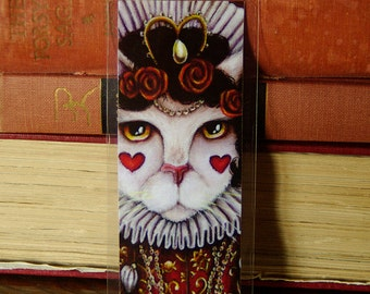 Queen of Hearts Cat Bookmark Alice in Wonderland Cat Bookmark