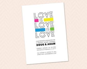 Love is Love is Love - Wedding shower invitation, LGBTQ, gay, lesbian shower