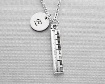 Ruler Necklace, Teacher Gift, School Jewelry, BFF, Friend Birthday Gift, Silver Jewelry, Personalized, Monogram, Hand Stamped Letter Initial