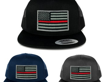 FLEXFIT 5 Panel American Flag Patched Snapback Mesh Cap - Thin Red Line (6006)