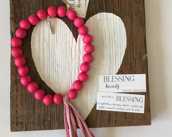 Blessing Beads, Baby Blessing Garland,  Inspirational Garland, Baby Decor, Baby Girl Gift