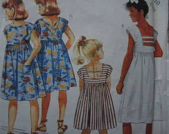 vintage 1980s McCalls sewing pattern 2435 girls pullover dress size 10
