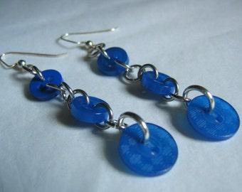 Geometric Blues Button Dangle Earrings