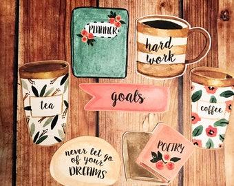 PLANNER LIFE Cardstock Die Cut Set (7 count), Planner Die Cuts, Planner Accessories, Travelers Notebook Accessories