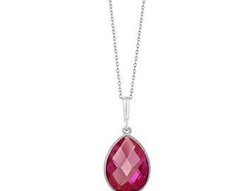 "Pink Sapphire Pendant with 18"" Chain Gemstone Birthstone Pendant Necklace September Birthstone Pendant Necklace"