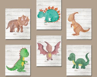 Watercolor DINOSAUR Nursery Decor DINOSAUR Wall Art Dinosaur Wall Decor T- Rex Big Boy Room Pictures Canvas or Print Set of 6 Dinosaurs  sc 1 st  Etsy & Dinosaur wall art   Etsy