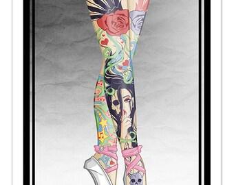 Tattooed Ballerina Legs [ Print ] - by Denis Caron - Corvink