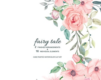 Blush Watercolor Flowers & Leaves with Different Shades Clipart Separate Elements Hand Painted Commercial Use | S15 Fairy Tale