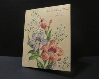 a Birthday Wish FOR YOU!, Bday Greeting Cards, Recycled Cards, Second Use, with Envelope, FREE Shipping