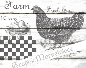 Hen Farm Fresh Eggs Instant Download Vintage Transfer Burlap Linen digital graphic printable graphic No. 1348
