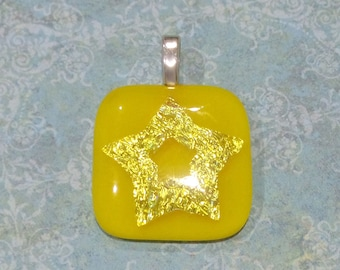 Star Necklace, Yellow Glass Slide Pendant, Star Pendant, Dichroic Necklace, Ready to Ship, Fused Glass Jewelry - Starlight - 3527 -2