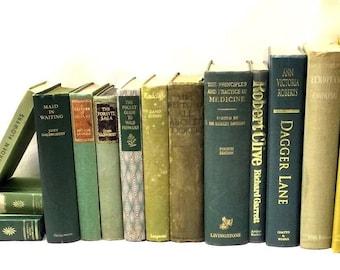 15 Old  Green Vintage Books Cloth Hardback Pub Props Shabby Chic Wedding Display Collection Set