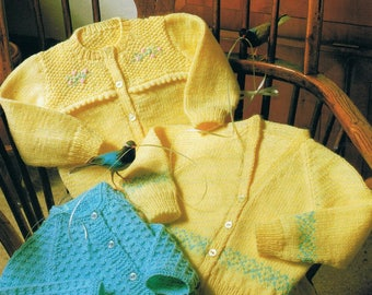 Baby Knitting Patterns, PDF Download, 3 styles Cardigans, knitted in 6 ply yarn, to fit chest sizes 46,51,56,61 cm