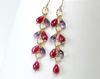 Dangle Ruby Earrings with Pink Amethyst, Ethiopian Opals beaded clusters in Gold filled, Wirewrap earrings, Handmade jewelry, Gift for Her
