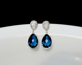 blue bridal earrings , sapphire drop earrings , blue stone earrings , sapphire wedding earrings , bridesmaids earrings ,montana blue earring