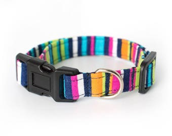 Dog or Cat Collar, Candy Stripes pink orange blue green navy, fashion fabric dog collar, custom size and width
