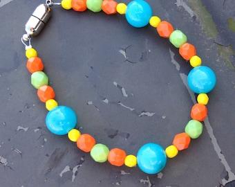 Colorful Czech Glass & Jade Bracelet