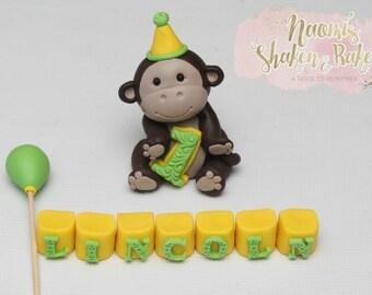 Monkey edible cake topper set