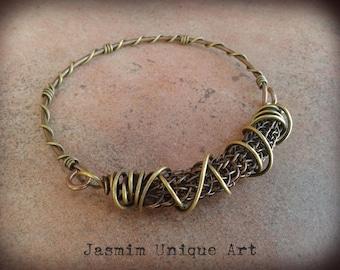 Viking knit bracelet Wire wrapped copper brass bangle bracelet Copper wire waved bracelet Woven and braided bracelet Boho bracelet for woman