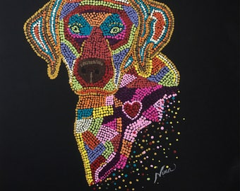 "Dot Pointillism, Acrylic Labrador, Dog, 12"" square, black canvas paper dot art, pointillist art, pointillism, original art, original artwork"