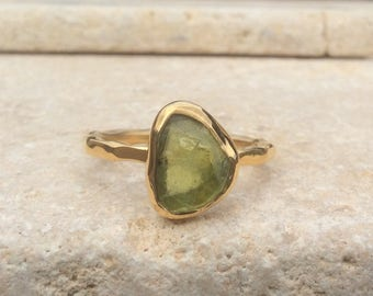 Raw Stone Ring, Raw Peridot Ring, US 8.75, Gold Vermeil Ring, Rough Natural Gemstone, Rough Peridot Ring, Peridot Gold Ring, Birthstone Ring