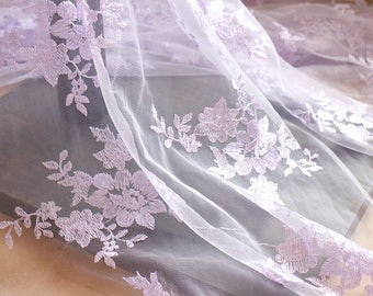 Cotton fabric with flowers embroidery gardening sheers curtains nature purple sky LL360VL 130cm