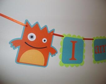 MONSTER birthday banner,  I AM 1 banner, photo prop, photography prop, BOY birthday. first birthday. Monster Birthday decorations, birthday