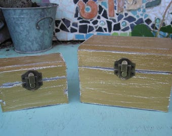 "Gold ""Shabby Chic"" Wooden Jewelry Box + Small One As A Gift"