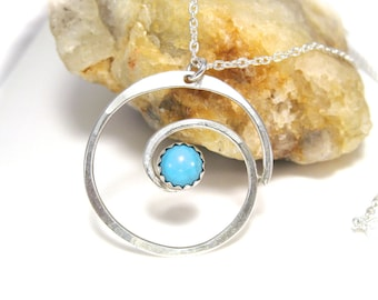 Sterling Silver Necklace Featuring Silver Spiral Pendant with Turquoise Gemstone