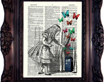Alice in Wonderland Art Print on book page. Tardis Art Print. Dr Who Print. Vintage Dictionary art print. Book Art print. Code:029