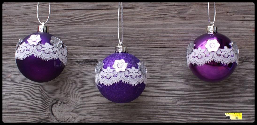 set de 3 boules de noël violette pailleté et décoré en