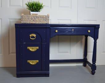Modern Blue Desk / writing desk / navy blue desk
