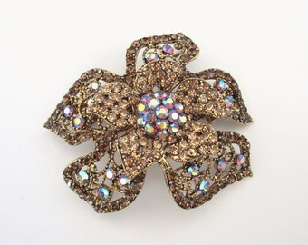 Crystal Flower Hair Accessory Barrette Clip Gold Tone Topaz Brown