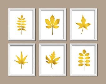 Leaf Printable Art Set of 6 Prints Gold Leaves Home Decorations Floral Wall Decor Botanical Digital Art / Instant Download