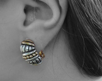 Vintage Black, Silver & Gold Tone Clip-On Earrings