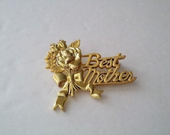 DANECRAFT Gold Tone Best Mother Brooch