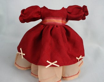 Red and cream dress for 15 inches rag doll - ball clothing princess collection