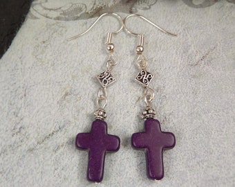 Gothic Purple Dyed Turquoise Howlite Gemstone Cross Tribal Drop Earrings UK