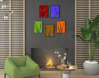 Floral Wall Art Set of 5. Fused Glass Art. Floral Home Decor. Small Wall Art. Made to Order. 5 Piece Living Room Art Set. Bedroom Wall Decor