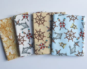 4 FAT quarters from Windham High Tide collection, nautical fabric, cotton fat quarter, starfish fabric