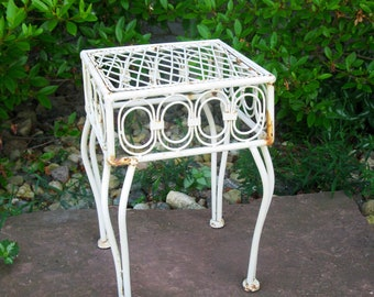 "Vintage PLANT STAND -wrought iron -white metal plant stand -shabby plant stand -12 "" high -cottage chic- retro -patio- garden decor"