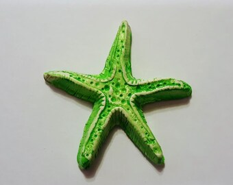 "Large Starfish Focal Bead,polymer clay,star fish,ocean,sea creature,bohemian,beach,jewelry supplies,beads,1 7/8"" or 47mm,art bead"