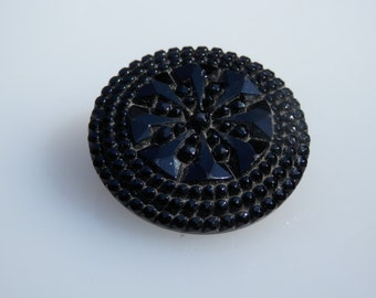 Mourning Black Glass Antique Button