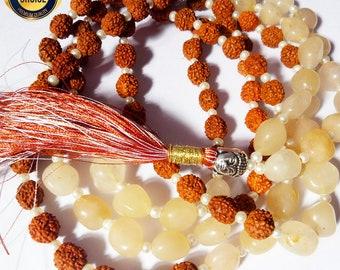 Rudraksha and Yellow Agate Mala