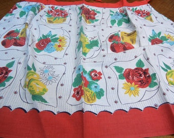 1950s apron - red and white with cherries, strawberries and flowers
