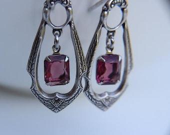 Vintage Amethyst Jewel Earrings - Antique Silver Dangle Earrings - Lever back earring wires - Silver Ox