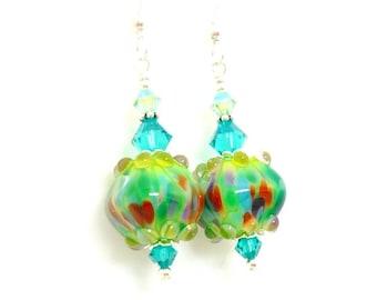 Colorful Earrings, Lampwork Earrings, Glass Earrings, Bright Earrings, Unique Earrings, Confetti Earrings, Glass Bead Earrings