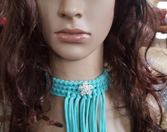 Choker, Necklace  Turquoise Choker With Fringe, Fringe Choker Necklace With Rhinestone Brooch, Crochet Choker