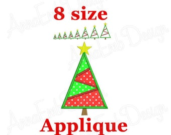 Christmas Tree Applique Embroidery Design. Tree mini. Tree embroidery. Camping Embroidery. Christmas tree embroidery. Machine Embroidery.
