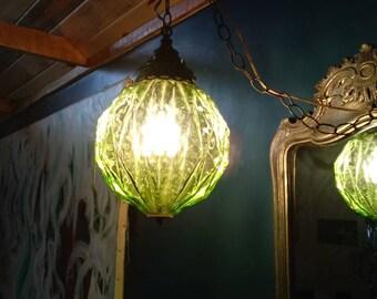 Vintage Swag Lamp in Green